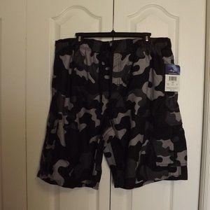 Kanu Surf Shorts Black & Grey Camo Size 2X NWT